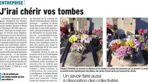 Article de presse sur l'entretien d'une tombe